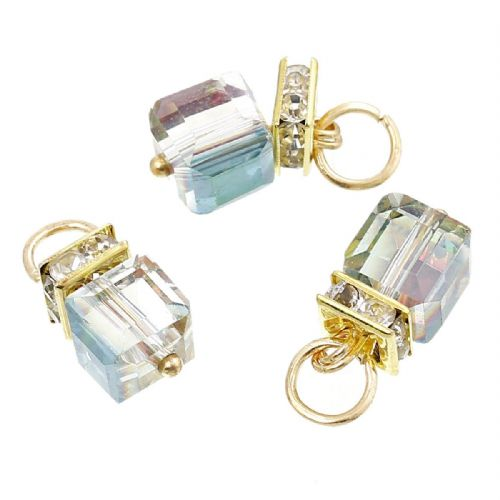 "4 x AB Faceted Crystal Cube Charms with Gold Plating & Clear Rhinestone 20mm( 6/8"") x 9mm( 3/8"")"